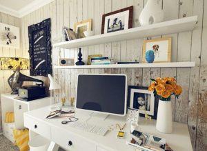 amenagement-bureau-maison-étagères-murales-meuble-bureau-blanc-tiroirs